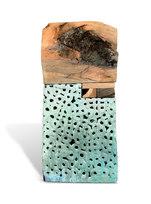 """Happy House Salt glazed stoneware with pecan, walnut, and cedar 43 x 20 x 6"""""""