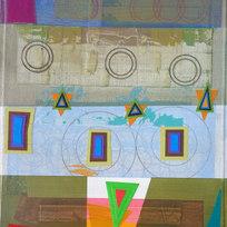 """Bloomstone Fragment (Triad Geometries) Mixed media on canvas 28 x 24"""" MIB 1043"""