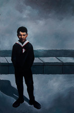 "Boy at Seawall Oil on paper 63.5 x 43.5"""