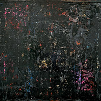 """Beneath the Surface Diabolic Dye, the Skin Acrylic, pastel, gold leaf and plastic on canvas 36 x 48"""" MIM 1094"""