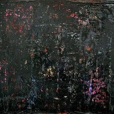 "Beneath the Surface Diabolic Dye, the Skin Acrylic, pastel, gold leaf and plastic on canvas 36 x 48"" MIM 1094"