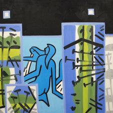 """SB Lagoon, Night Studio #1 Oil on canvas 84 x 84"""" GBT 1018"""