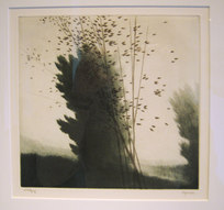 "Breezes Drypoint (green), engraving (black) 7.875 x 7"""
