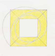 """Framed Square with Open Center A Softground and aquatint etching 27.25 x 27"""""""