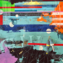 """We Gone be Aight: Moons & Tides Mixed Media on Panel 72 x 60"""" MIM 1041"""