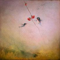 """Humingbird VIII Oil on canvas 48 x 48"""" JL 1195"""