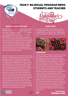 BILINGUAL PROGRAM NEWS - Valentine's Day