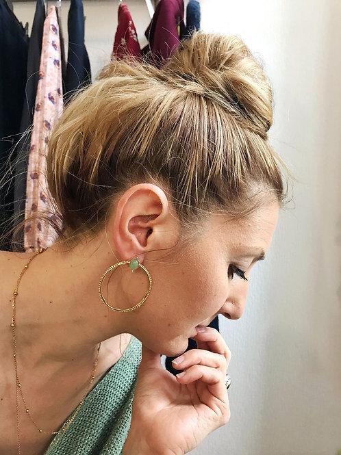 Boucles d'oreilles pierre amazonite