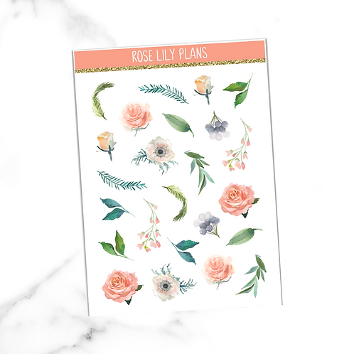Floral 003 Sticker Sheet