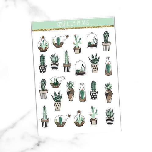 Cacti and Succulents Sticker Sheet