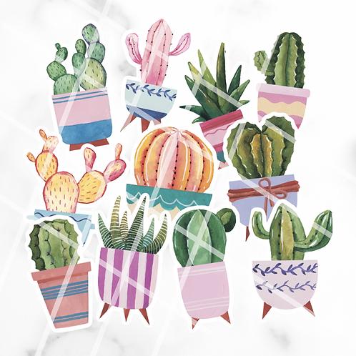 Watercolour Cacti Sticker Pack #1
