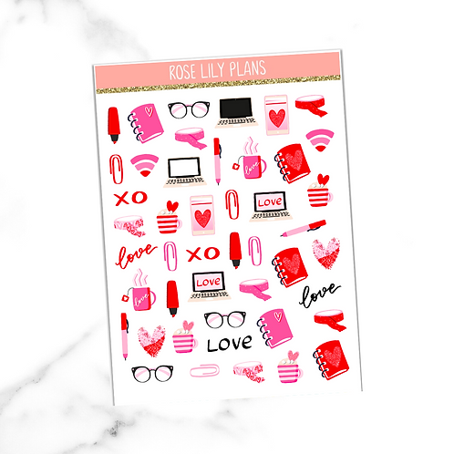 Pink Office Sticker Sheet