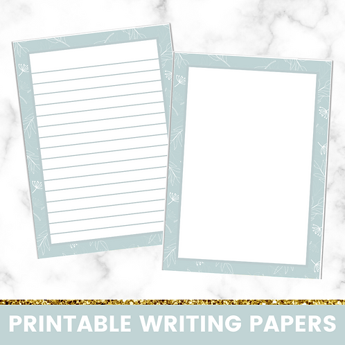 PRINTABLE | Pastel Blue Leaves Writing Papers