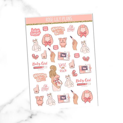 Baby Girl Sticker Sheet