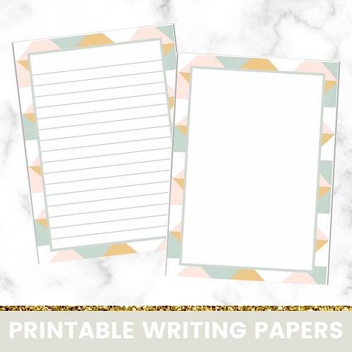 PRINTABLE | Yellow Geometric Writing Papers