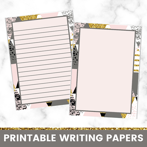 PRINTABLE | Geometric Dark Writing Papers