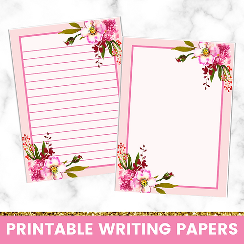 PRINTABLE | Pink Florals Writing Papers