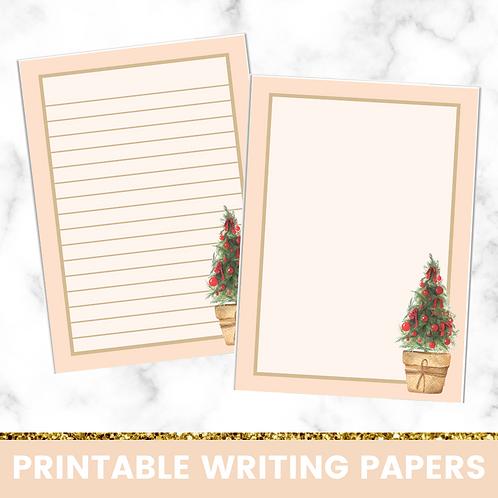 PRINTABLE   Yellow Christmas Tree Writing Papers