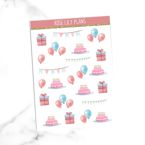 Watercolour Birthday Sticker Sheet