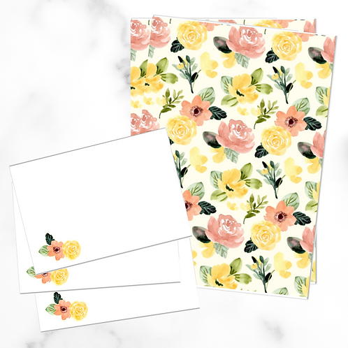 Yellow Floral Writing Set