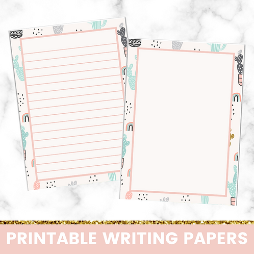 PRINTABLE | Pale Cacti Writing Papers