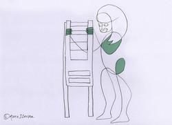 Gezeichnete Frau stellt zwei Stühle übereinander