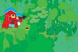 Illustration de cabanes pour se cacher en forêt