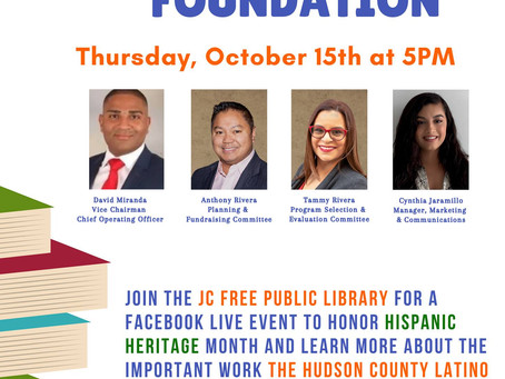 The Jersey City Free Public Library hosted The Hudson County Latino Found on a Facebook Live event