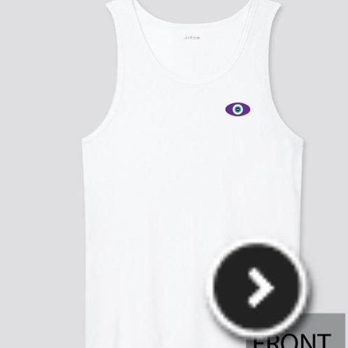 White Tank - Purple Evil Eye Logo (Unisex) + free mini reading