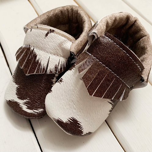 Cowhide moccasins