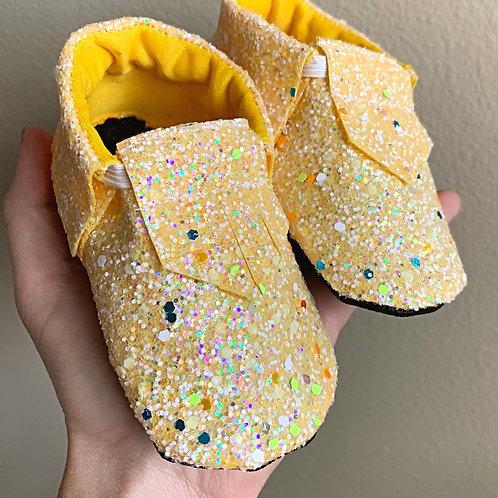 yellow glitter moccasins