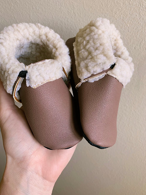 Taupe Sherpa Moccasins