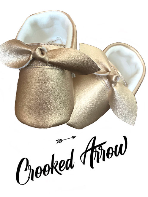 Champagne Knotted Bow Moccasins