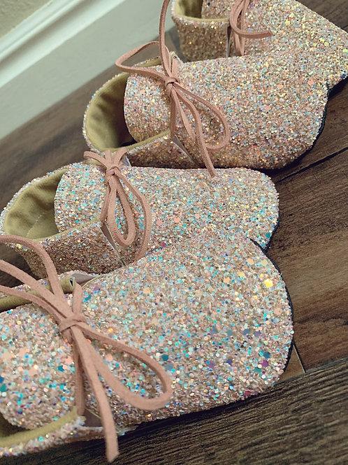 Tickled Pink Glitter Oxfords