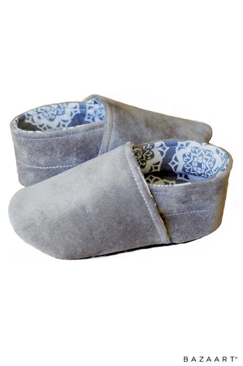 Gray Crushed Velvet Flats