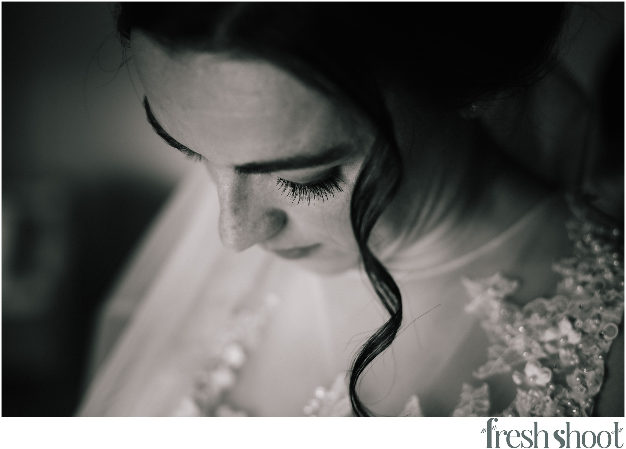 eyelash shot of bridal makeup
