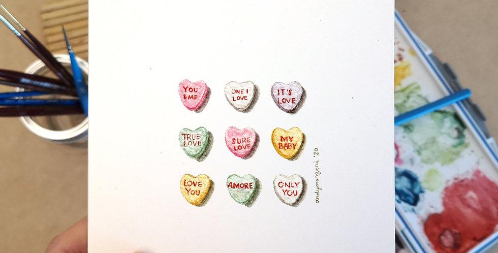 Conversation Hearts - Valentine's Day Card