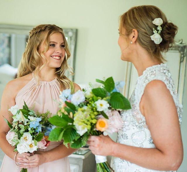 Flowers in bridal hair