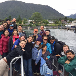 Ferrying out to an island dinner with Sitka Fine Arts Camp faculty, 2017.