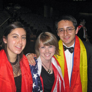 With flutists Daniel Velasco and Beatrice Ovalle on tour in Chile, 2012.