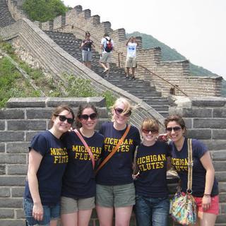 University of Michigan Symphony Band flutes take on the Great Wall of China.