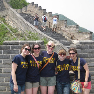 University of Michigan Symphony Band flutes take on the Great Wall of China.