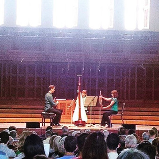 Performing Debussy's Trio for Flute, Viola, and Harp at the Tanglewood Music Center.