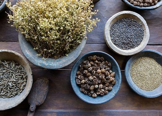 various herbal medicines in bowls