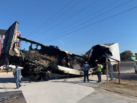 Tractor-trailer catches fire near Del Rio, causes severe traffic congestion