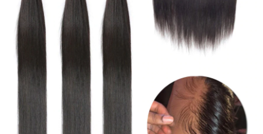 Straight Hair Bundles With Frontal Brazilian Remy Human Hair Weave 3 Bundles