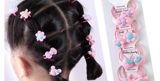 10set/card Cartoon Hair Ring Hair Scrunchies Floral Elastic Hair Bands for kids