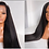 Thumbnail: MDH Pre Plucked 13x4 Lace Front Human Hair Wig Yaki Straight bleach knots