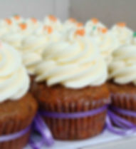 Carrot Cupcakes w Cream Cheese Frosting.