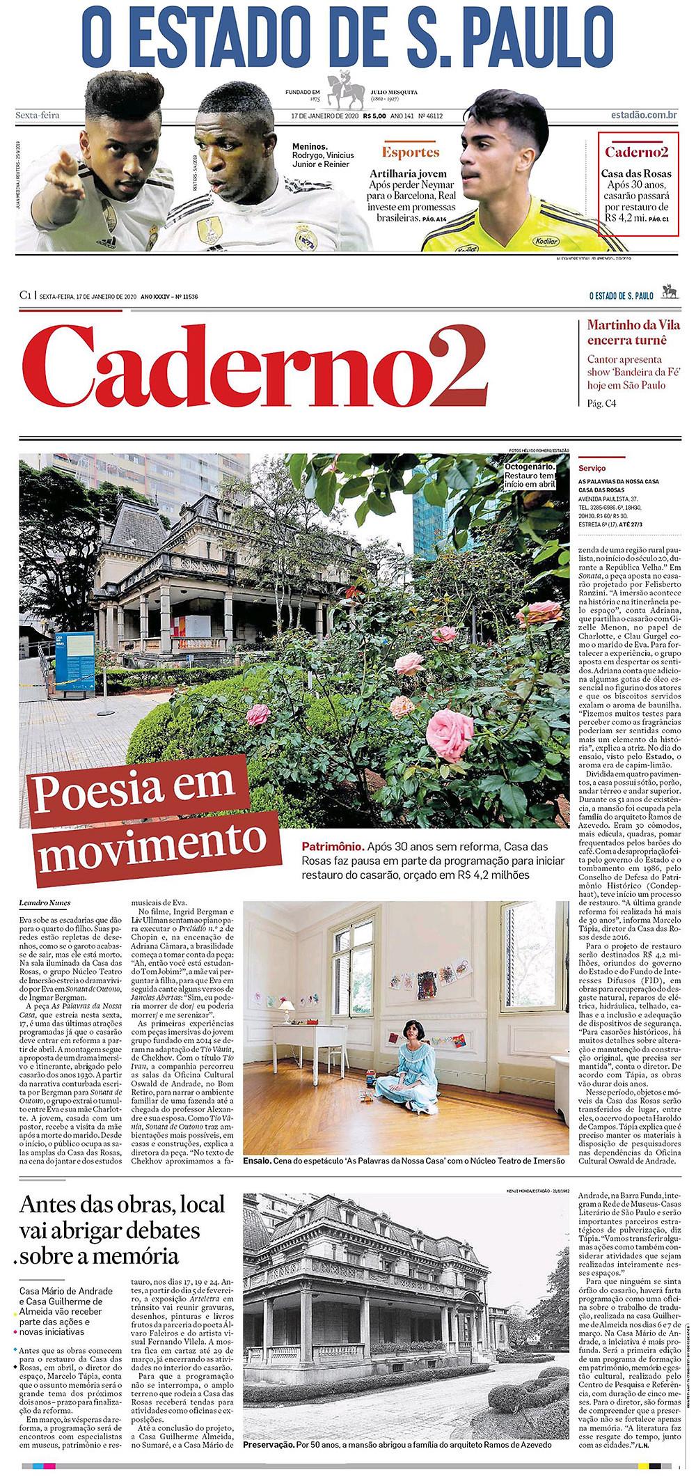 As Palavras da Nossa Casa - Teatro Imersivo - Caderno 2 - O Estado de S. Paulo - Núcleo Teatro de Imersão